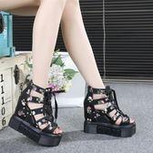 羅馬涼鞋涼鞋女夏超高跟新款厚底鬆糕羅馬鞋坡跟鏤空透氣鞋內增高34碼 全館免運