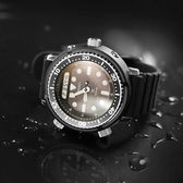 SEIKO 精工 / H851-00A0D.SNJ025P1 / PROSPEX 太陽能 潛水錶 兩地時間 雙顯 防水200米 矽膠手錶 黑色 47mm