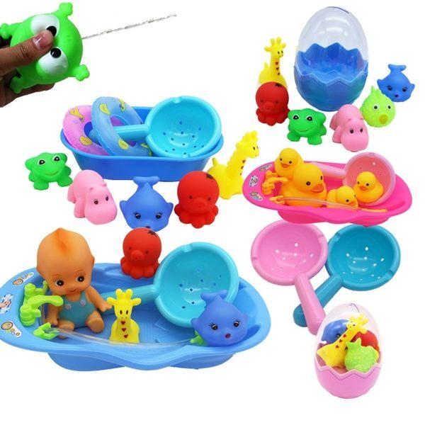 兒童洗澡玩具嬰兒戲水小黃鴨洗澡泳池玩具捏捏叫游泳水里玩的