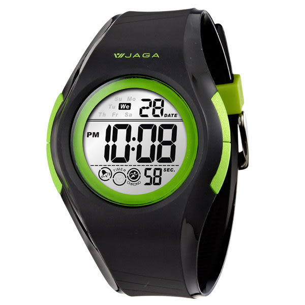 M984-AF 捷卡JAGA 運動休閒多功能運動 冷光 電子錶 黑綠色 電子錶 防水手錶 夜光 男錶 學生錶 軍錶