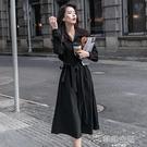 秋冬洋裝 風衣黑色襯衫連身裙女秋冬新款御姐輕熟風收腰赫本小黑裙氣質長裙