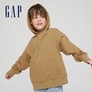 Gap男童 簡約風運動連帽休閒上衣 903477-淺咖色