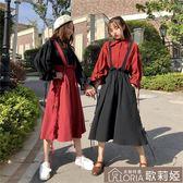 洋裝大碼女裝秋冬裝新款遮肚子洋裝洋氣套裝胖mm顯瘦秋季兩件套 歌莉婭