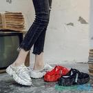 半拖鞋 2020大碼女鞋41一43加寬加肥包頭運動拖鞋女外穿夏天厚底半拖老爹鞋女 OO13606【科炫3c】