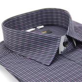 【金‧安德森】黑底紫白變化條紋窄版長袖襯衫