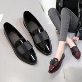 英倫學院風尖頭平底小皮鞋女鞋新款原宿韓版復古休閒單鞋 露露日記