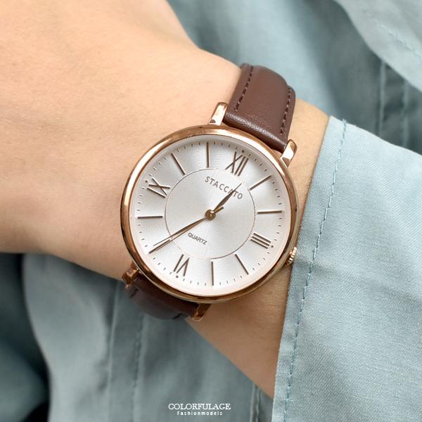 手錶 STACCATO玫金簡約風格皮革錶NEKS14