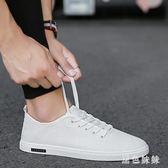 夏季潮鞋韓版帆布鞋亞麻透氣薄款白鞋休閒板鞋小白鞋男中國風 aj12060『黑色妹妹』