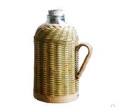 悠然閣手工竹編復古文藝竹編家用保溫瓶保溫壺玻璃內膽暖瓶開水瓶