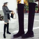 膝上靴 中跟長靴女過膝2018秋冬新款長筒靴粗跟顯瘦繫帶高筒網紅瘦瘦靴子 尾牙