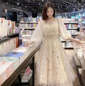 現貨 夏裝2019新款女裝時尚網紗燈籠袖公主連衣裙拼接網紗亮片A字裙子 長袖 洋裝連身裙