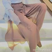 雪紡寬管褲女高腰裙褲子大碼夏季寬鬆寬腿開衩九分褲2018新款褲裙 美芭