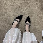 氣質名媛通勤款春季尖頭顯瘦V剪裁絨面水鉆細帶平底低幫鞋單鞋女 時尚芭莎