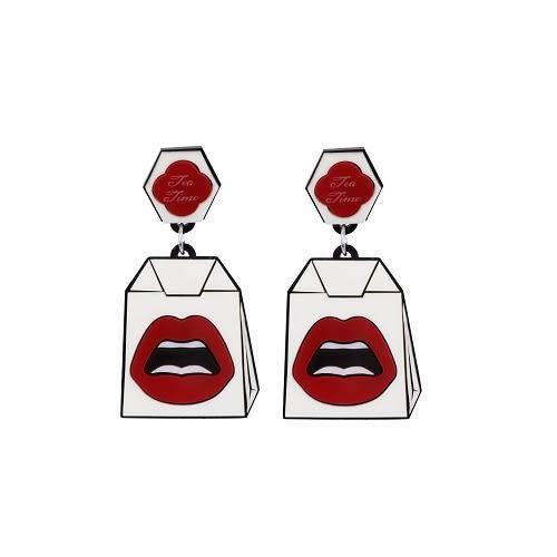 Yazbukey 紅唇茶包耳環