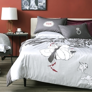 HOLA 迪士尼系列 反派 純棉床被四件組 庫伊拉 雙人 Cruella VILLAINS