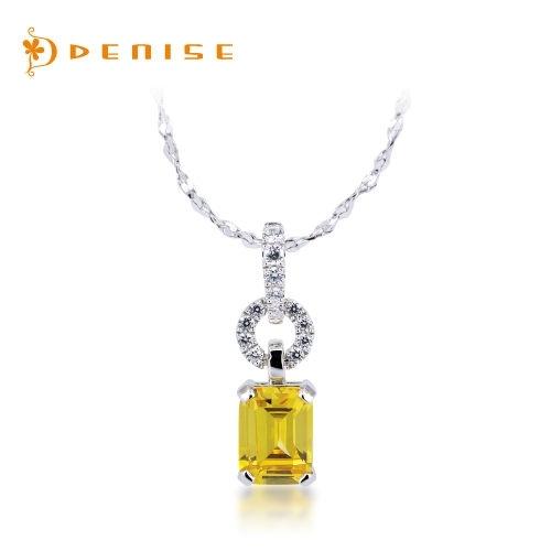 超值價 925純銀墜「時尚黃晶鑽墜」贈白鋼項鍊