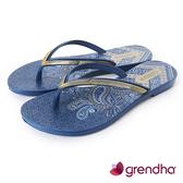 GRENDHA 金屬質感時尚極簡夾腳鞋-藍色
