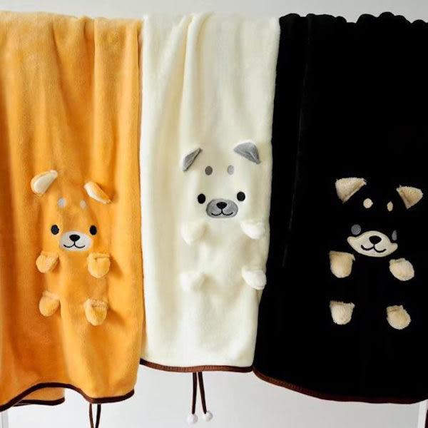 【BlueCat】裝萌小柴犬單身狗可捲曲收納毯 小毛毯 懶人毯 冷氣毯