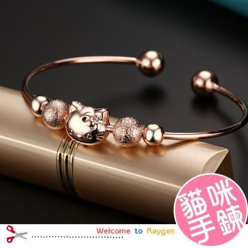 鍍銀鍍玫瑰金 貓臉 貓咪 手鐲 手環
