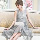 浪漫宮廷風蕾絲無袖中長裙洋裝小禮服~婚禮/謝師宴~美之札
