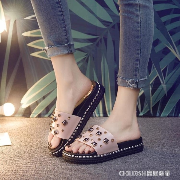 家居拖鞋女新款防滑可愛女士軟底洗澡家用厚底增高個性韓國 童趣潮品