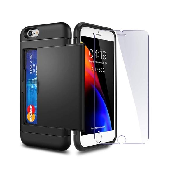 [9美國直購] SUPBEC iPhone7 8 SE 手機殼2020 Case Tempered Glass x2Pack] i Phone 7/8/SE 2 Wallet Case Cover Shockproof