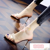 高跟拖鞋 拖鞋女水鉆透明半拖外穿涼鞋夏季時裝涼拖細跟百搭高跟鞋【萌萌噠】