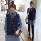針織背心馬甲學生襯衫女軟妹毛衣配裙子兩件套裝潮 沸點奇跡