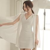 歐媛韓版 夏季新款女裝性感V領無袖修身拼接雪紡斗篷式包臀連身裙  店慶降價