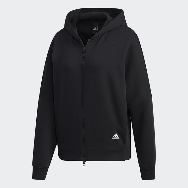 Adidas MUST HAVES WORD 女裝 外套 連帽 雙拉鍊 串標 抓皺 刷毛 黑【運動世界】GF6977