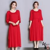 大尺碼洋裝斜紋絨順滑舒適連身裙中袖紅色開叉抽繩中長款大尺碼