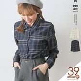 襯衫 配色線條格子微光澤排釦長袖上衣-BAi白媽媽【191018】