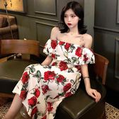 洋裝夏季新款一字領露肩短袖裙子寬松顯瘦長裙氣質印花連衣裙女裝「輕時光」