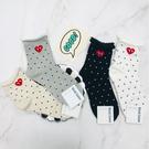 韓國襪子 點點愛心中長襪 休閒襪 女襪