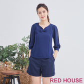 Red House 蕾赫斯-蝴蝶結袖內點點上衣(共2色)