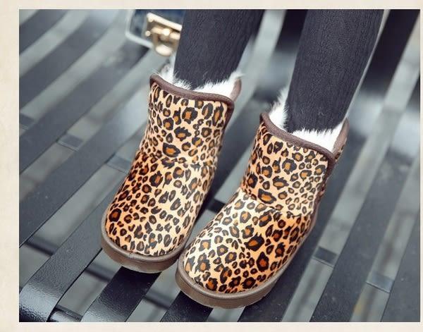 豹紋加厚女寶寶雪靴 中筒女童鞋 (14-16.5cm) KL1202 好娃娃