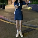 2021新款夏季復古V領泡泡袖連衣裙女裝裙子顯瘦短款收腰牛仔裙潮 【端午節特惠】