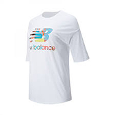 New Balance藝術家聯名LOGO女款白色五分袖上衣-NO.AWT01545WT