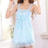 easybody-甜蜜漾點 居家型細帶洋裝(花園藍)
