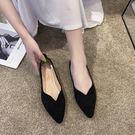 歡慶中華隊黑色上班工作鞋新款尖頭淺口平底鞋韓版百搭豆豆鞋秋季單鞋女
