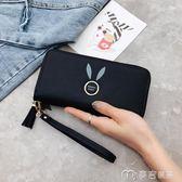 女士手拿錢包長款新款韓版純色大容量拉鍊零錢包女手腕手機包     麥吉良品