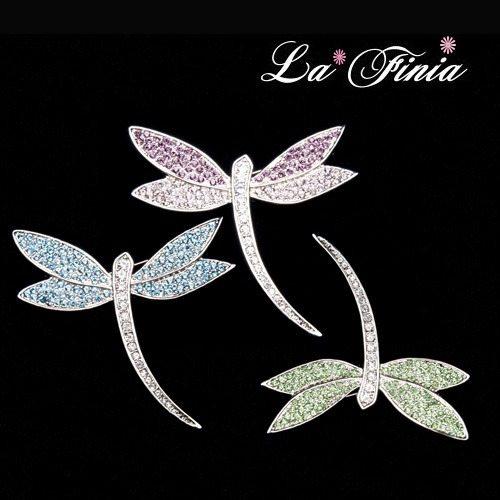 【La Finia】舞動蜻蜓胸針(共三色可選擇)
