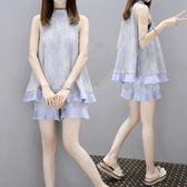 中大尺碼 孕婦裝夏裝套裝時尚款2018新款韓版寬鬆蕾絲夏季兩件套LJ7498『夢幻家居』