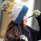拚色加絨加厚三毛球毛線帽 P2822 保暖帽 防風帽 | OS小舖