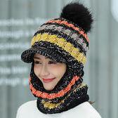 防風帽騎車針織帽保暖護脖女士騎車防風護耳帽子加絨連體帽莎瓦迪卡