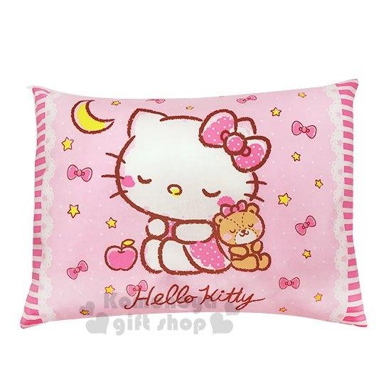 〔小禮堂〕台灣佳美 Hello Kitty 方型棉質寶寶枕頭《粉.睡覺》午安枕.靠枕 4710482-07512