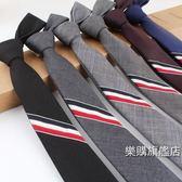 領帶正韓窄三色彩條織帶5cm男女條紋tb領帶正裝商務結婚休閒學院黑灰