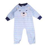 Carter s 卡特 刷毛拉鍊包腳長袖兔裝連身衣 藍熊 男寶寶童裝【CA115G597】