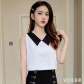 娃娃領無袖雪紡上衣 2019夏季簡約甜美新款韓版寬鬆中大碼洋氣小衫 QX13766 『寶貝兒童裝』