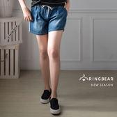 牛仔短褲--運動休閒夏日風格慵懶個性滾邊設計單寧抽繩短褲(藍S-5L)-R189眼圈熊中大尺碼◎